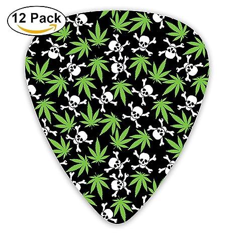 Púas para guitarra de Cannabis Leafs, diseño de calaveras Marihuana, 351 formas clásicas de celuloide, ...