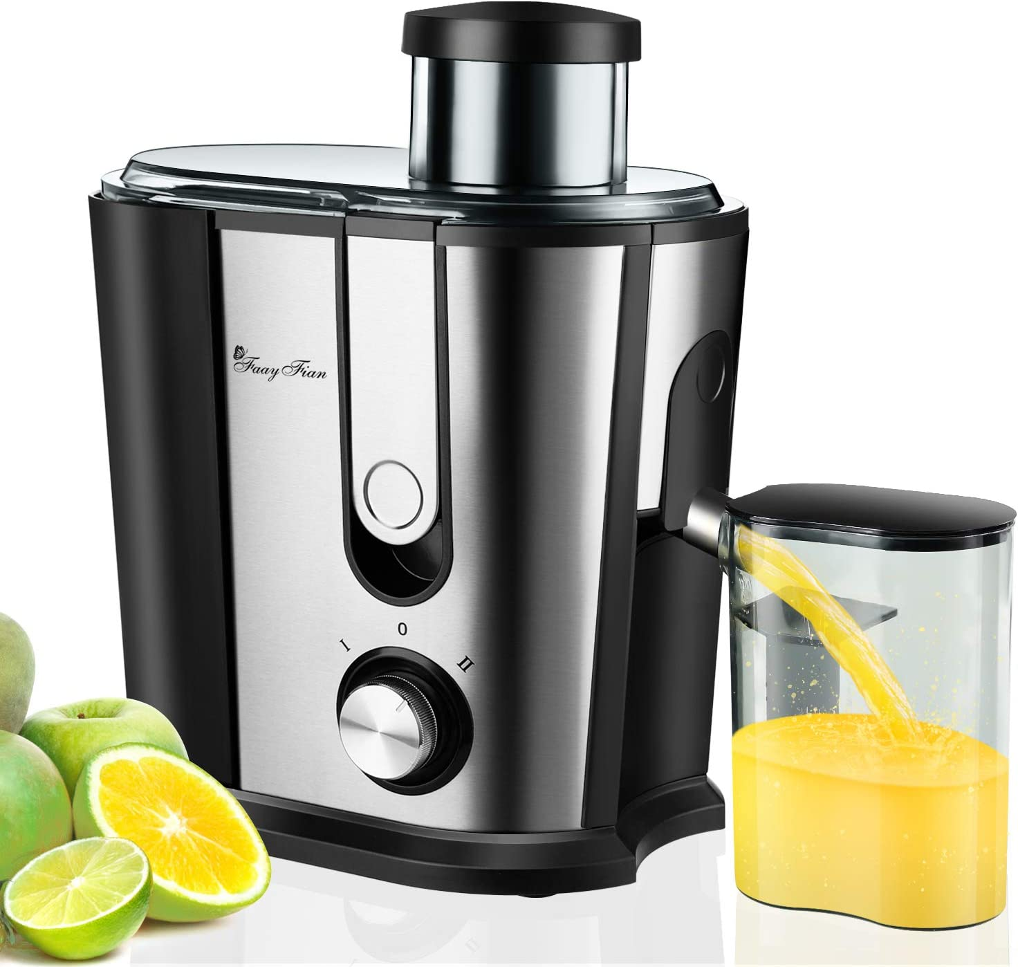 Juicer Machine Compact Juice Extractor, Quick Juice High Yield, Detachable Easy Clean Juice Maker, 3'' Wide Mouth, Dual-Speed, Overheat Protect, Stainless Steel Centrifugal Juicer for Fruit Vegetable