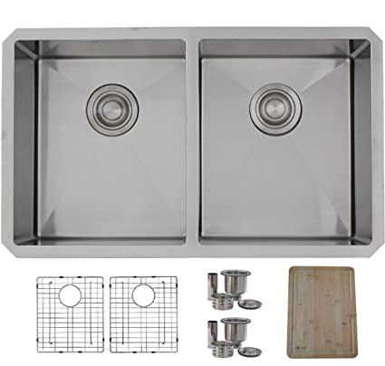 STYLISH 30-Inch Undermount Kitchen Sink Double Bowl 16 Gauge ...
