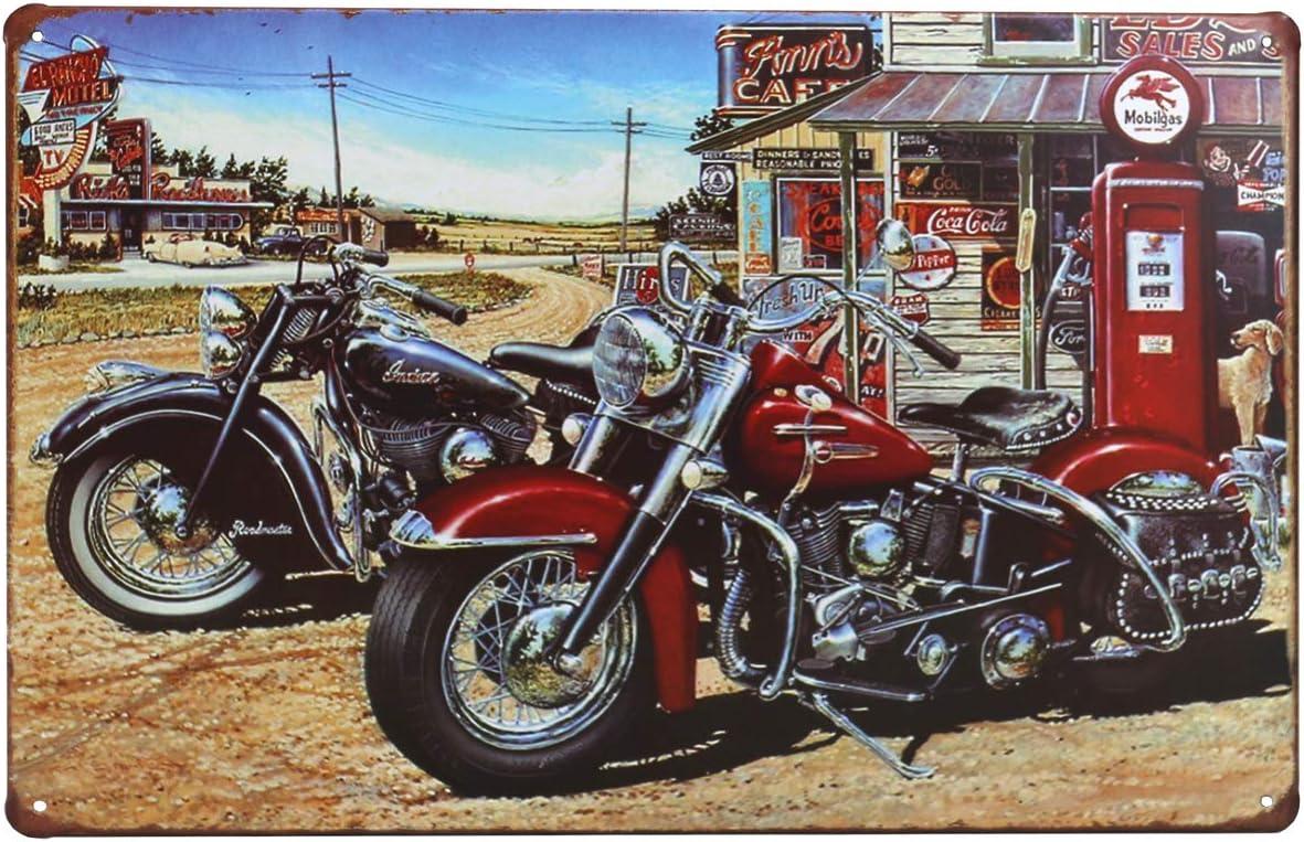 OTARTU 8x12'' Retro Vintage Motorcycle Tin Sign Plate Wall Plaque Decor,Coffee Shop Bar Decor (1268)
