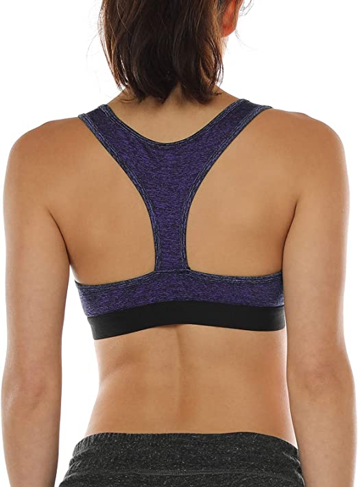 icyzone Racerback Sports Bras for Women - Womens Activewear Top, Workout Clothes, Running Yoga Bra
