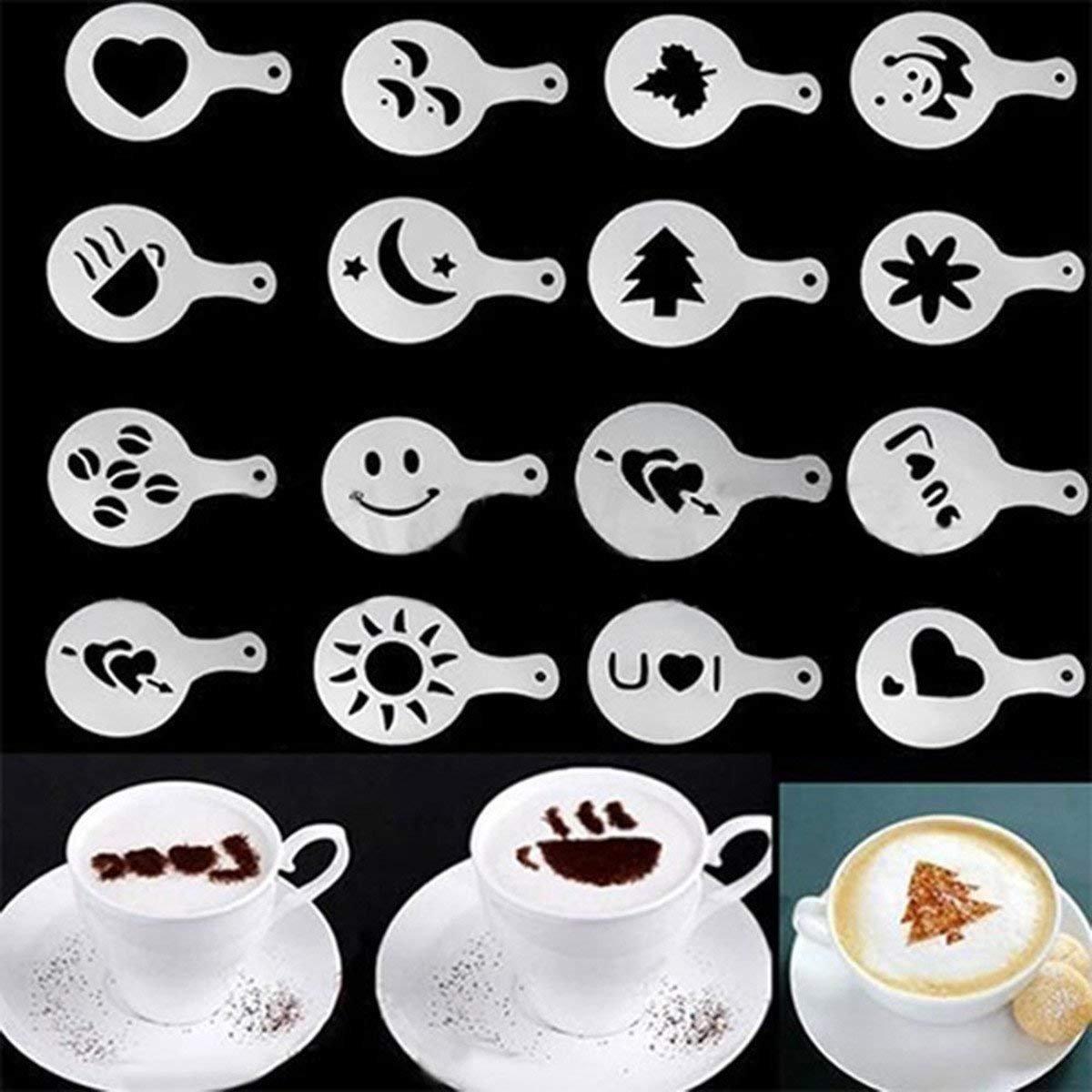 Ishua 16pcs Cappuccino Coffee Stencils DIY for Household& Professional Coffee Stencils Duster Spray Tool Nicedeal BHBA287
