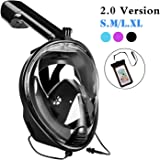 YouVogue180°Panoramic Full Face Snorkel Mask -Larger Viewing Area Free Breath Technology with Anti-fog , Anti-leak Snorkeling for Adults,Youth ,Men, Women with Dry Waterproof Phone Bag