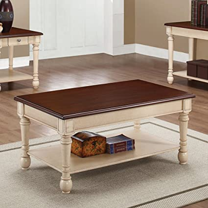 Genial Rectangular Coffee Table Dark Cherry And Antique White