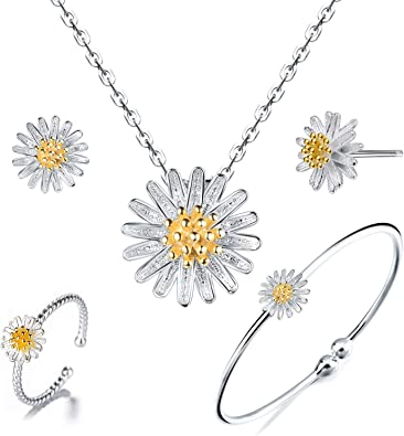 """18/"""" Chain Daisy Pendant 925 Sterling Silver Daisy Flower Charm Necklace"""