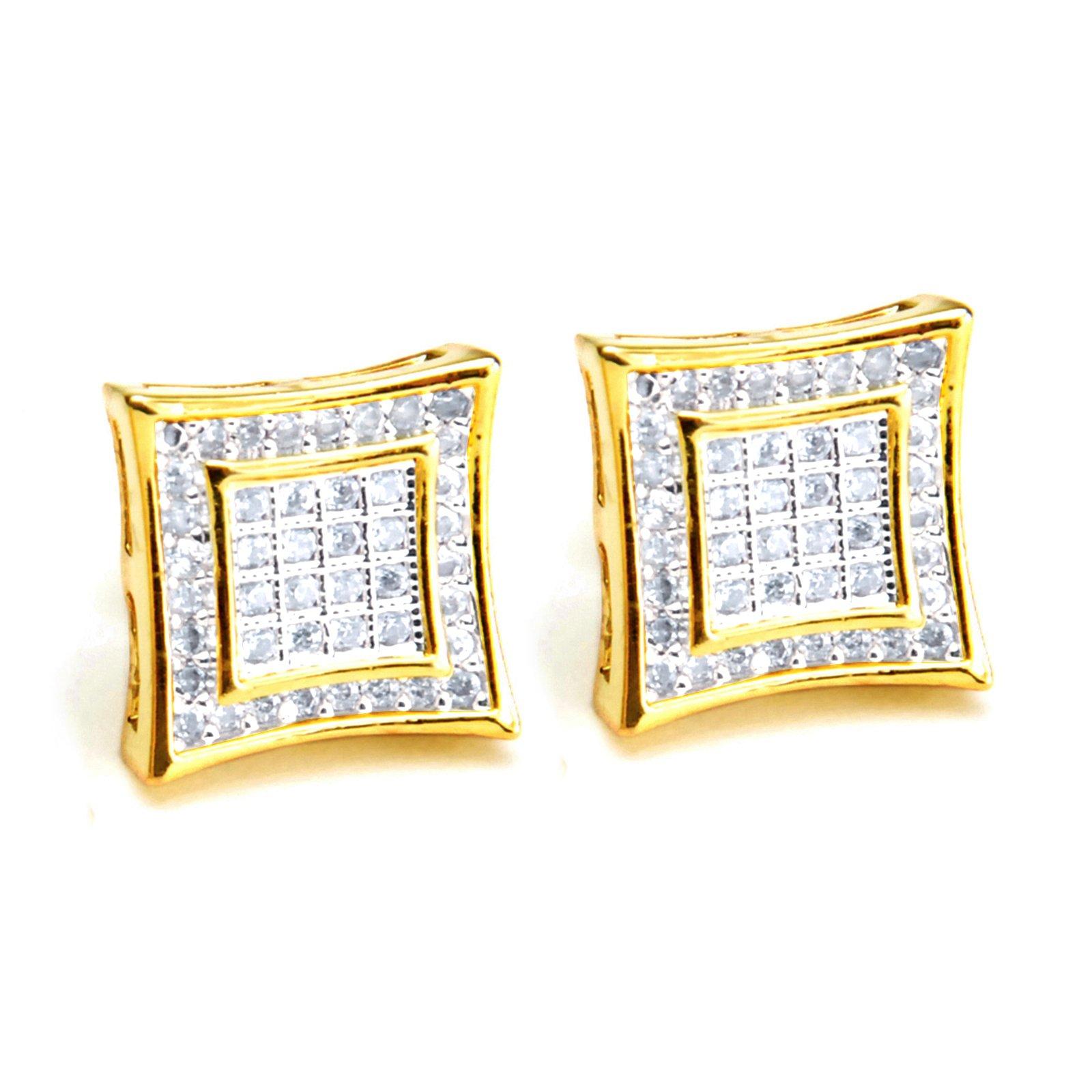 NEW Men's 14K Gold Plated Double Square Kite 2 Tone Screw Back Stud Earring BE 002 TT