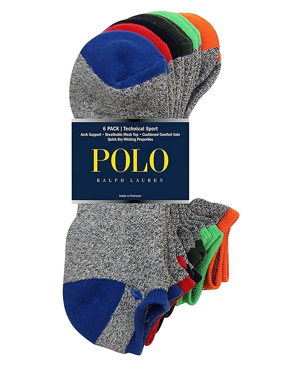 Polo Ralph Lauren 6-Pack Technical Sport Ped Socks