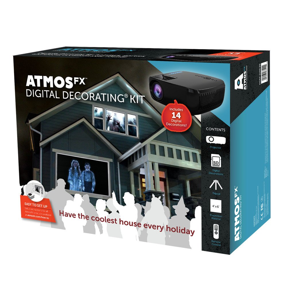 AtmosFX Digital Decorating Kit, Projector with Accessories for Holiday Projection Decorating on Halloween, Christmas, Birthdays, and More