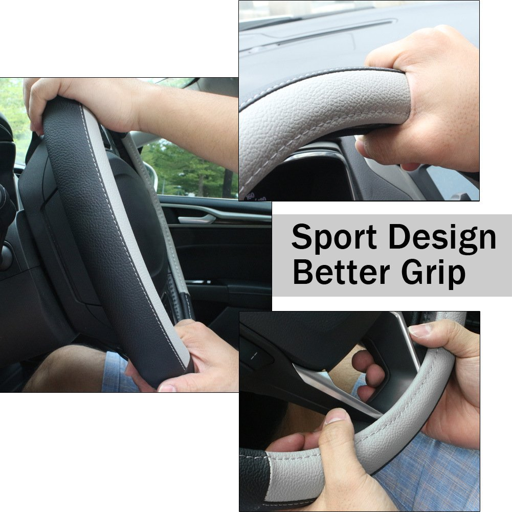 SEG Direct Black and Blue Microfiber Leather Steering Wheel Cover for Prius Civic 14-14.25