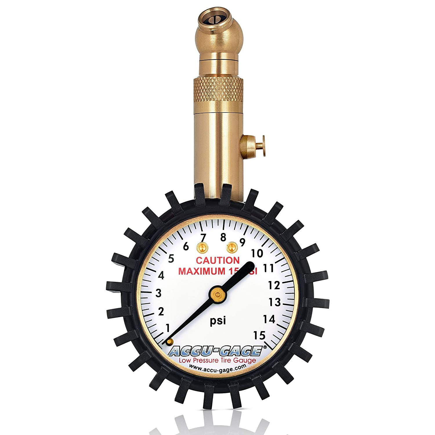 Accu-Gage Low Pressure Tire Gauge with Protective Rubber Guard, Angled Chuck, 15psi G.H. Meiser RS15XA-RIBBED