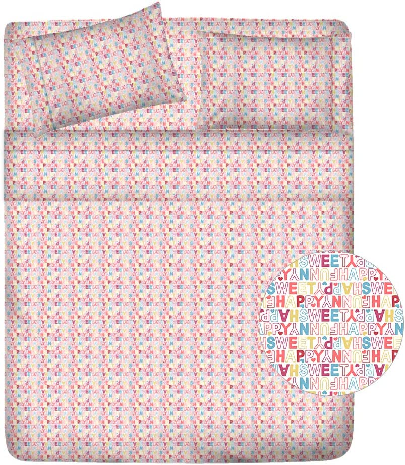 "Serendipity 100% Combed Compact Cotton Printed - 4 Piece Sheet Set, Full Sheets Percale Weave, Cool Crisp, Soft & Breathable, Pink Letters Design Fitted Sheet Fits Upto 18"" Deep Pocket Patented"