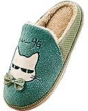 MiYang Womens Cat Print Fleece House Warm Bedroom Slippers