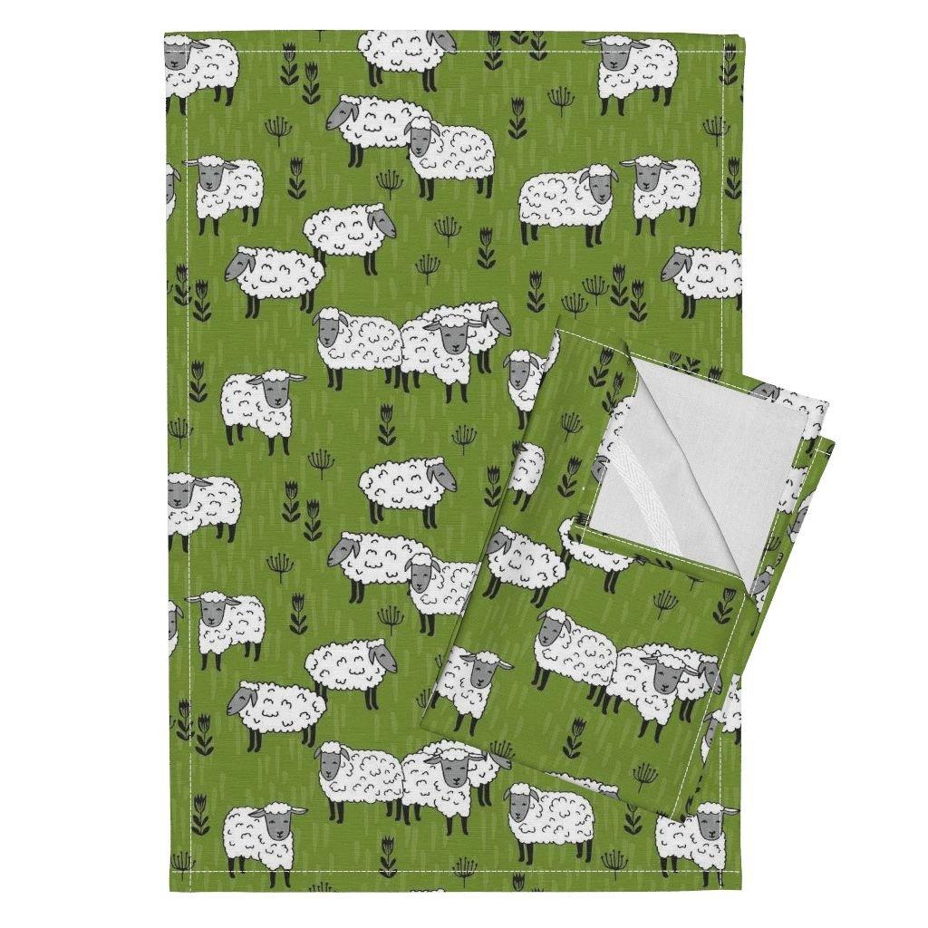Sheep Grass Sheep Fabric Farm Farm Animals Tea Towels Sheep Fabric Moss Green Farm by Andrea Lauren Set of 2 Linen Cotton Tea Towels
