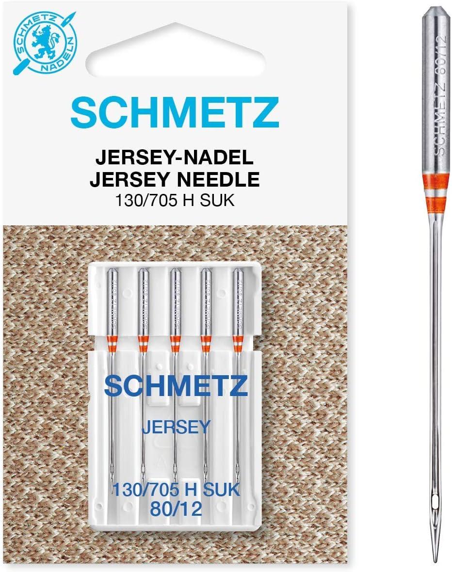 SCHMETZ SEWING MACHINE NEEDLES PACK OF 5-130//705 H SUK 80//12 JERSEY NEEDLE