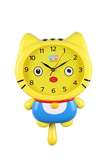 "ThreeStar Yellow Cat Wall Clock Movable Eyes Cute Kawaii Childrens Home Decor 15"" ..."