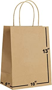 [50 Bags]-10 X 5 X 13 Brown Kraft Paper Gift Bags Bulk with Handles. Ideal for Shopping, Packaging, Retail, Party, Craft, Gifts, Wedding, Recycled, Business, Goody and Merchandise Bag