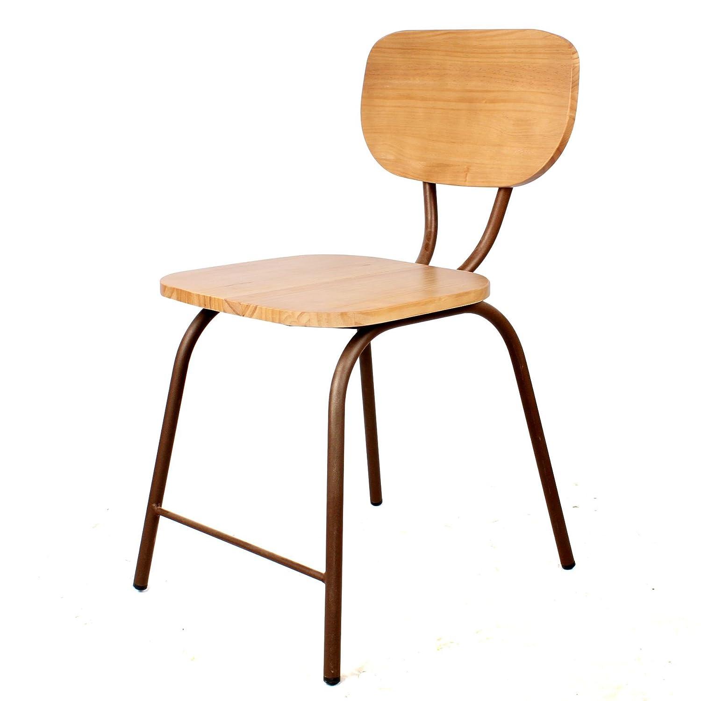 Silla vintage, madera y metal efecto óxido