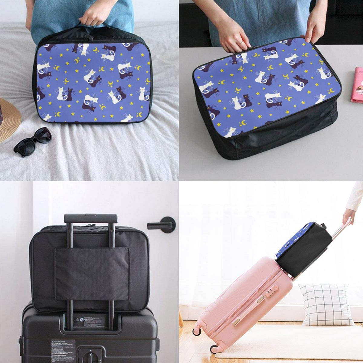 Travel Duffle Bag Weekender Bag In Trolley Handle Black And White Cactus Grey Luggage Hanging Bag Water Repellent Nylon Luggage Duffel Bag Hand Bag For Gym Sports Vacation