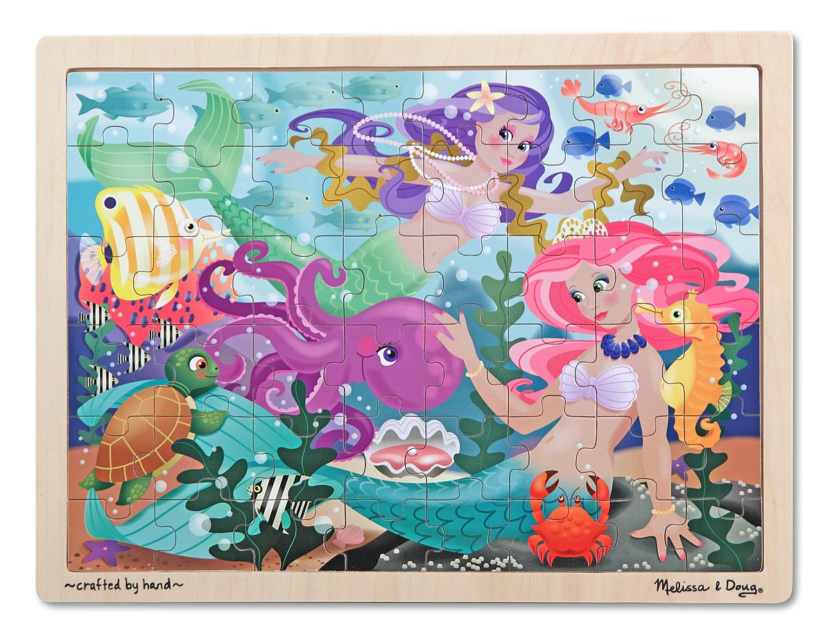 Melissa & Doug Mermaid Fantasea Wooden Jigsaw Puzzle With Storage Tray (48 pcs)