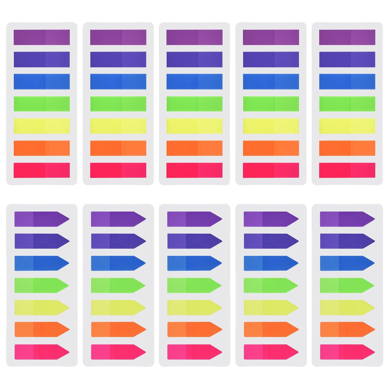 1400 Pezzi Segnapagina Indice Bandiere Freccia Tab Colorato Note Adesive Scrivibile Tab per Marker Pagina, 10 Set, 7 Colori Outus