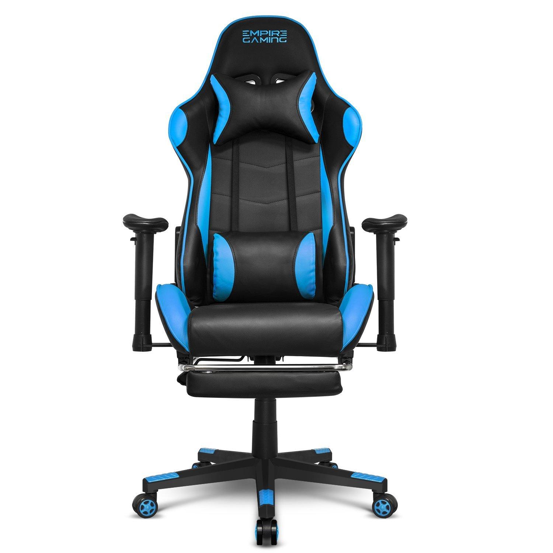 Empire Gaming – Sillón Racing 800 serie Negra/Azul - Reposapiés y forma de asiento deportivoacolchado ultra confortable - Reposabrazos 2D ajustables - ...
