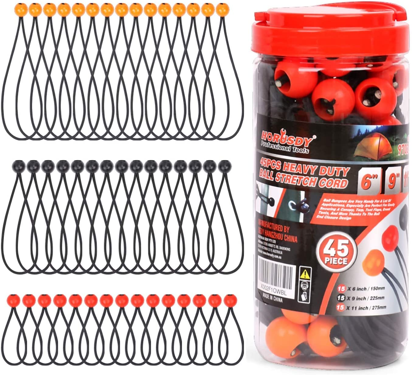CHINA 100 Piece 6 Ball Bungee Cord Tie Down Plastic Toggle Balls Straps For Tarp Tents Canopies 6IN WHITE
