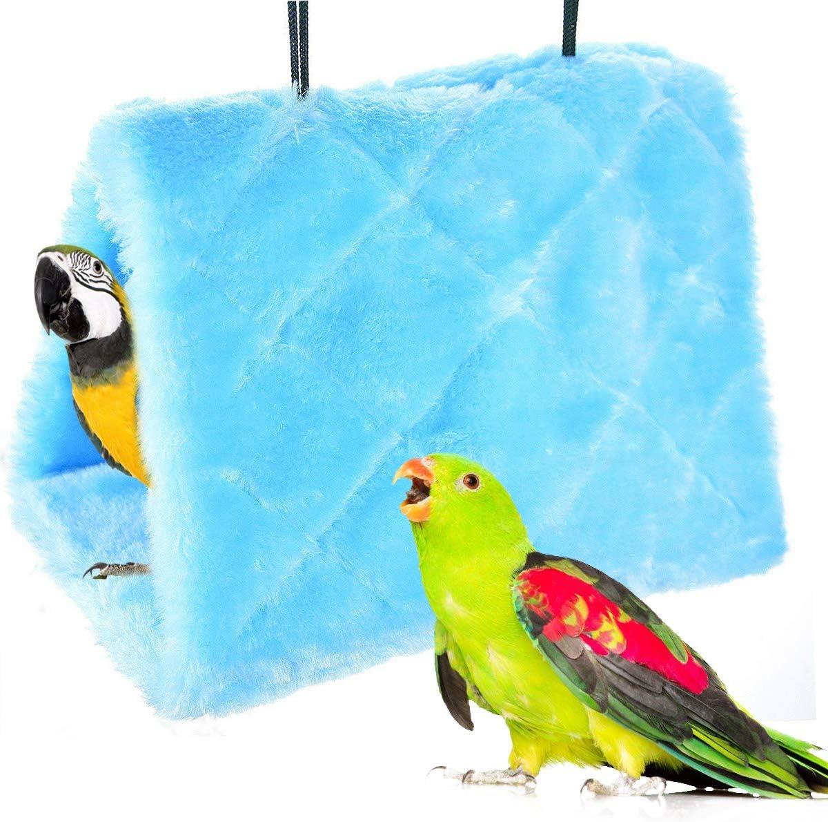 Nido de Pájaro de Invierno Hamaca Cálida Loro Tienda de Campaña Casa Cama de Peluche para Loro, Periquito, Cacatúa, Cono, Lovebird Finch Cockatoo Africano (M, Azul)