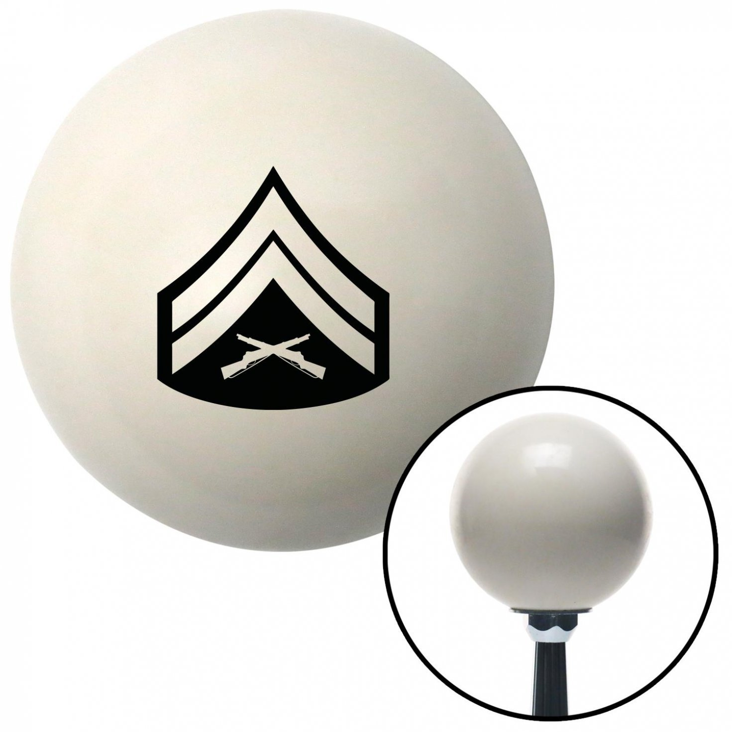 Black 03 Corporal American Shifter 40698 Ivory Shift Knob with 16mm x 1.5 Insert