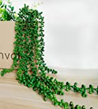 """Artificial Succulent Plants, String of Pearls, 28"""" Hanging Basketplant, Lover Tears Plants (Green 1 pc)"""