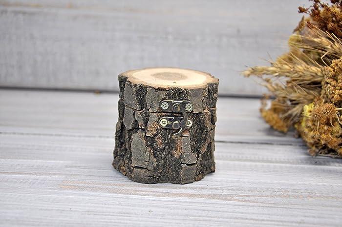 Caja de madera para anillos de boda Caja de anillo de compromiso ...