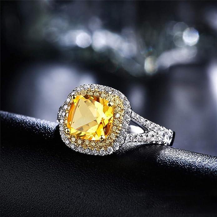 Blisfille Joyas Anillos de Compromiso en Oro Anillo de Cushion Anillos de Diamantes de Oro de Verdad Anillo de Plata de Ley 925,Amarillo del Tamaño 6,75-25: ...