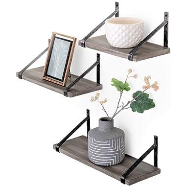 Under.Stated Wall Mounted, Designer Hanging Living Room Bedroom Bathroom Floating Shelves, Rustic Grey, Set of 3