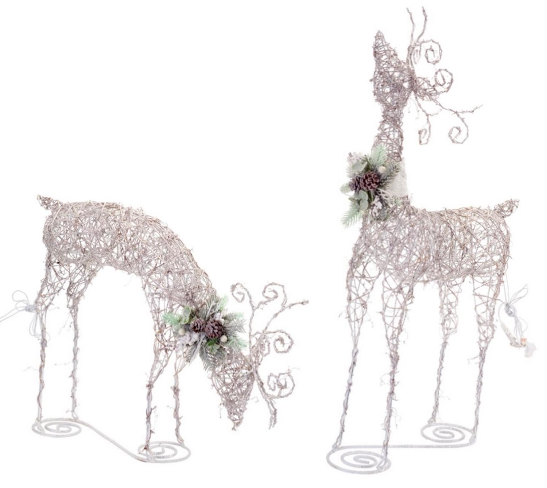 Set of 2 LED Lighted Rattan Snowy Deer Christmas Yard Art Decorations 24''-44.5''