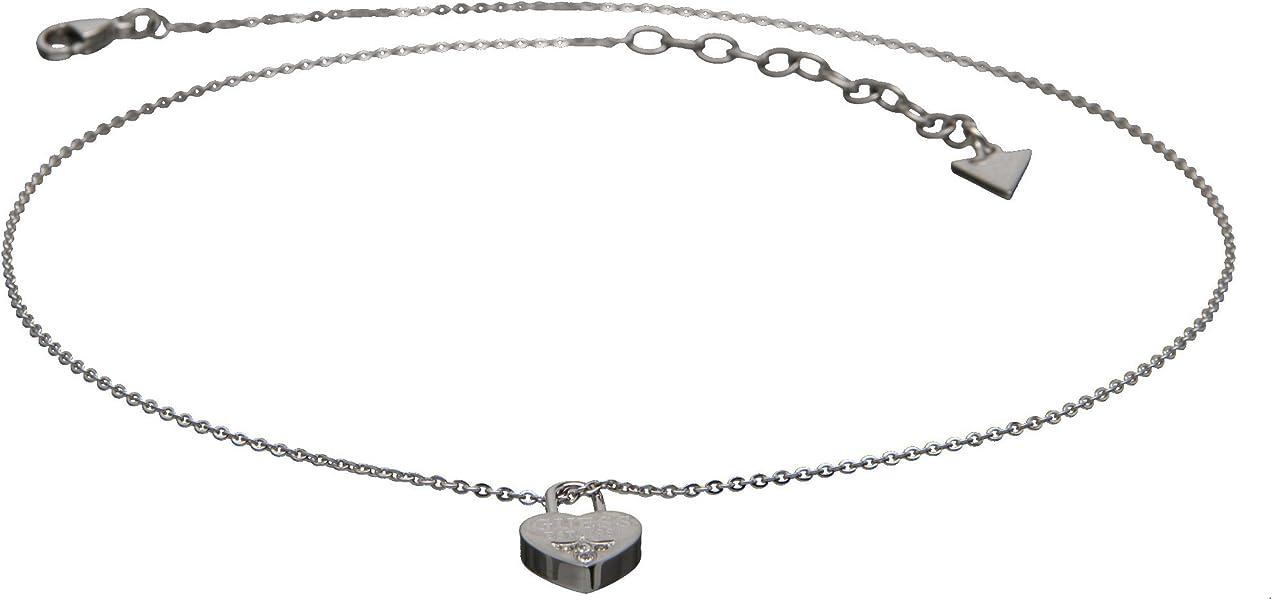 43f48eb793 Guess Stainless Steel Collection Acciaio Inossidabile Collana con ciondolo  a forma di cuore lucchetto zirconi filigrana