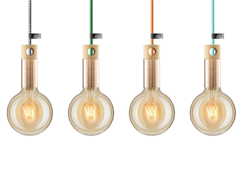 Handgefertigt Pendelleuchten, Hängeleuchten ARLI ARLI ARLI Copper; Made in EU; 1,2m Stoffkabel;12,5 cm Diameter LED Leuchtmittel inklusive (8W,2700K,300lm,10000H), Material  100% Holz und Kupfer; Premium Quality European product (Grau) f4efc7