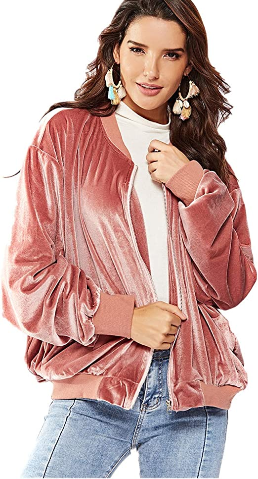 Women/'s Long Line Classic Stand Up Collar Padded Bomber Jacket USA SELLER S-L