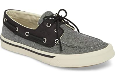 a9d2facc60d Sperry Top-Sider Mens Bahama II 2 Eye Canvas Leather Boat Shoe Black White