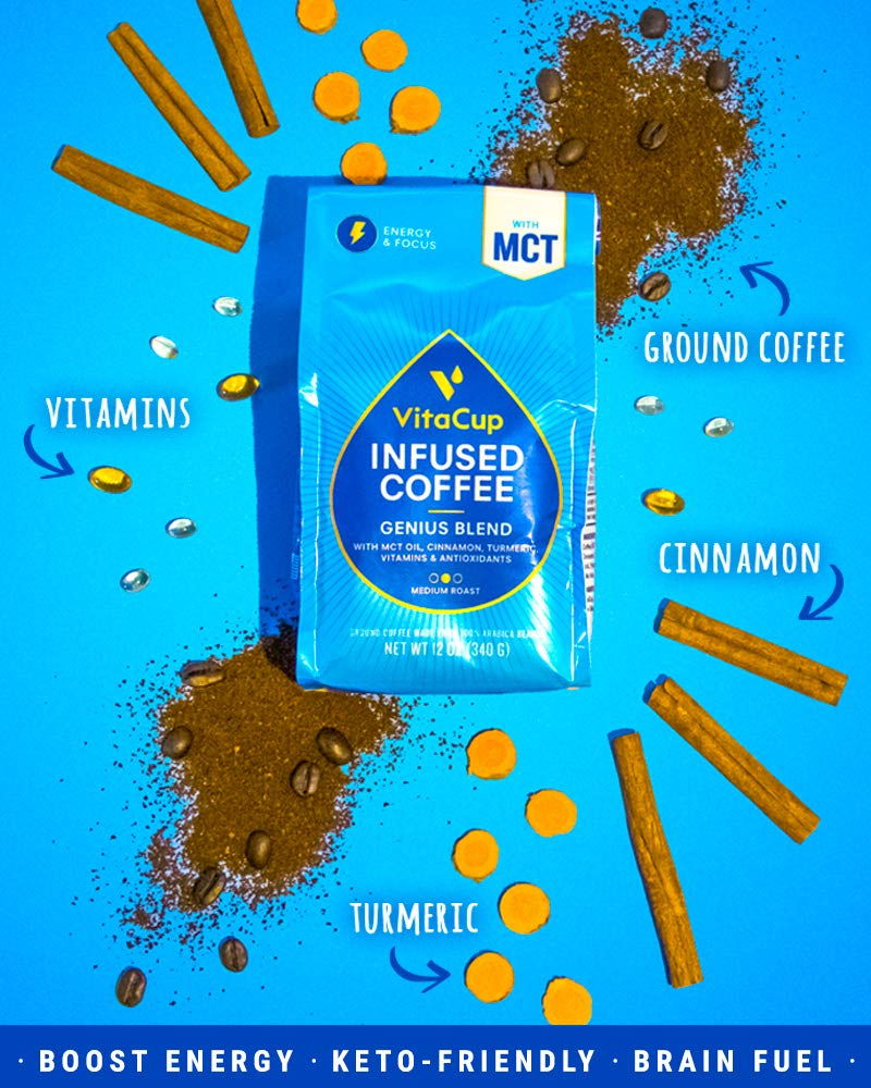 VitaCup Genius Blend Ground Coffee Bags 12oz. with MCT Oil, Turmeric, Vitamins, Cinnamon, Keto|Paleo|Whole30 Friendly, B12, B9, B6, B5, B1, D3, and Antioxidants for Coffee Brewers, Pots, French Press by VitaCup (Image #3)