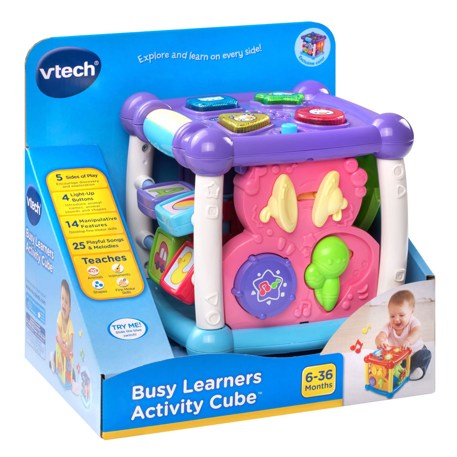 Amazon VTech Busy Learners Activity Cube Purple line