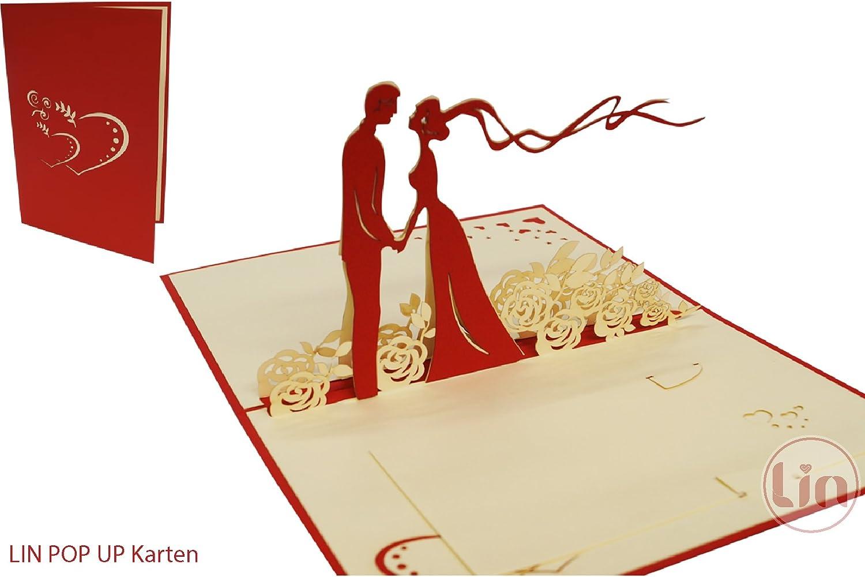POP UP 3D Klappkarte Hochzeit *Ringkästchen mit Brautpaar-Ring-Set* Diamant-Ring