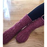 Calcetines altas/zapatillas tejidos a mano, gruesos, talla 36-38, burdeos, para mujer