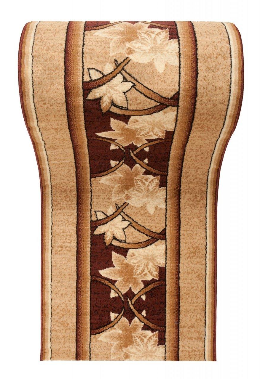 WE LOVE RUGS CARPETO Läufer Teppich Flur in Beige Braun - Floral Muster - Kurzflor Teppichlaufer Verona Kollektion 80 x 400 cm