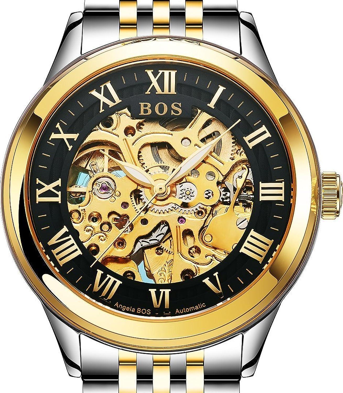 Angela Bos Automatische Skelett-Armbanduhr fÜr Herren in Schwarz - selbstaufziehend - goldfarbenes Armband aus Edelstahl