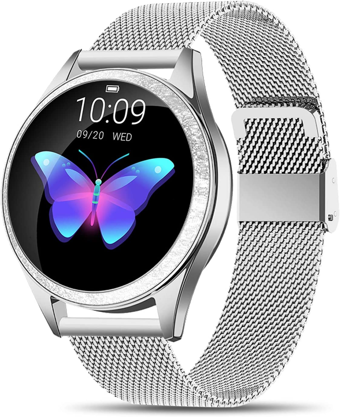 Yocuby V2 Smart Watch for Women, Fitness Tracker Compatible with iOS Android Phone, Sport Activity Tracker with Sleep/Heart Rate Monitor/Find My Phone/Physiological Reminder (Silver)