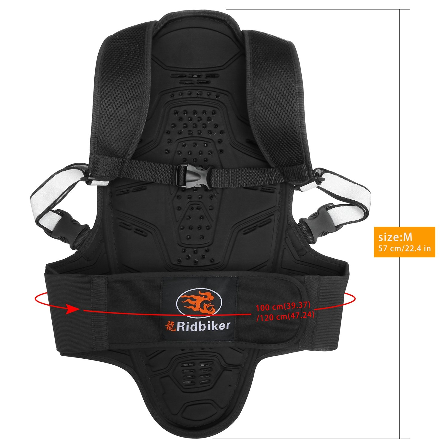 RIDBIKER Motorcycle Bicycle Back & Spine Protector Motocross Racing Spine Armor Skiing Riding Skating Anti-Fall Vest Protective Gear by RIDBIKER (Image #1)