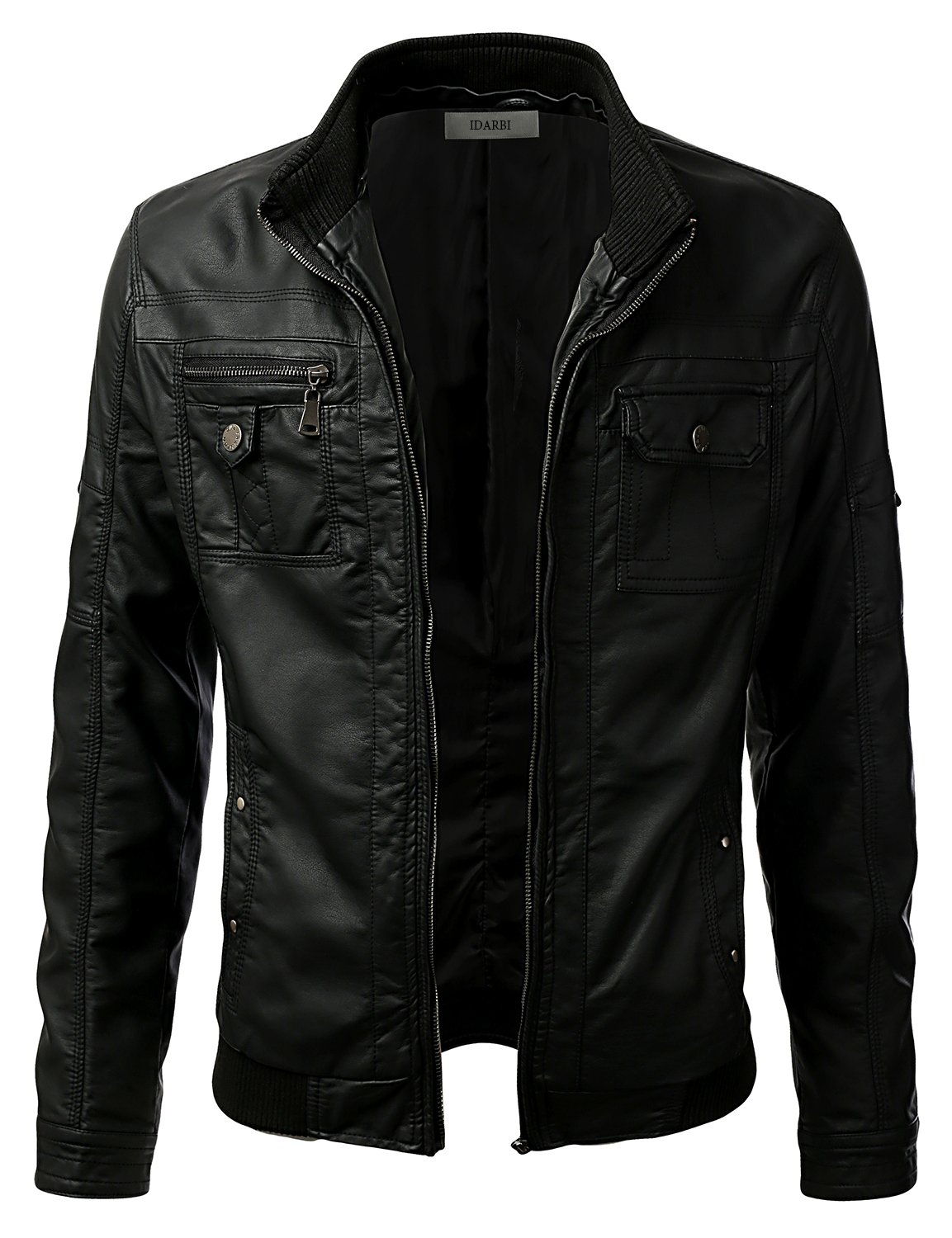 IDARBI Men¡¯s Premium PU Faux Leather Moto Biker Jacket With Detachable Hood Black M