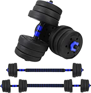 Vivitory Fitness Dumbbells Set, Adjustable Weight Sets up to 44/66Lbs, Free Weight with Connecting Rod Used As Barbell, Iron Sand Mixture, Home Gym Work Out Training Equipment