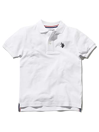 44d656999 M&Co Us Polo Assn. Boys 100% Cotton Plain White Embroidered Chest Logo Polo  Shirt: Amazon.co.uk: Clothing