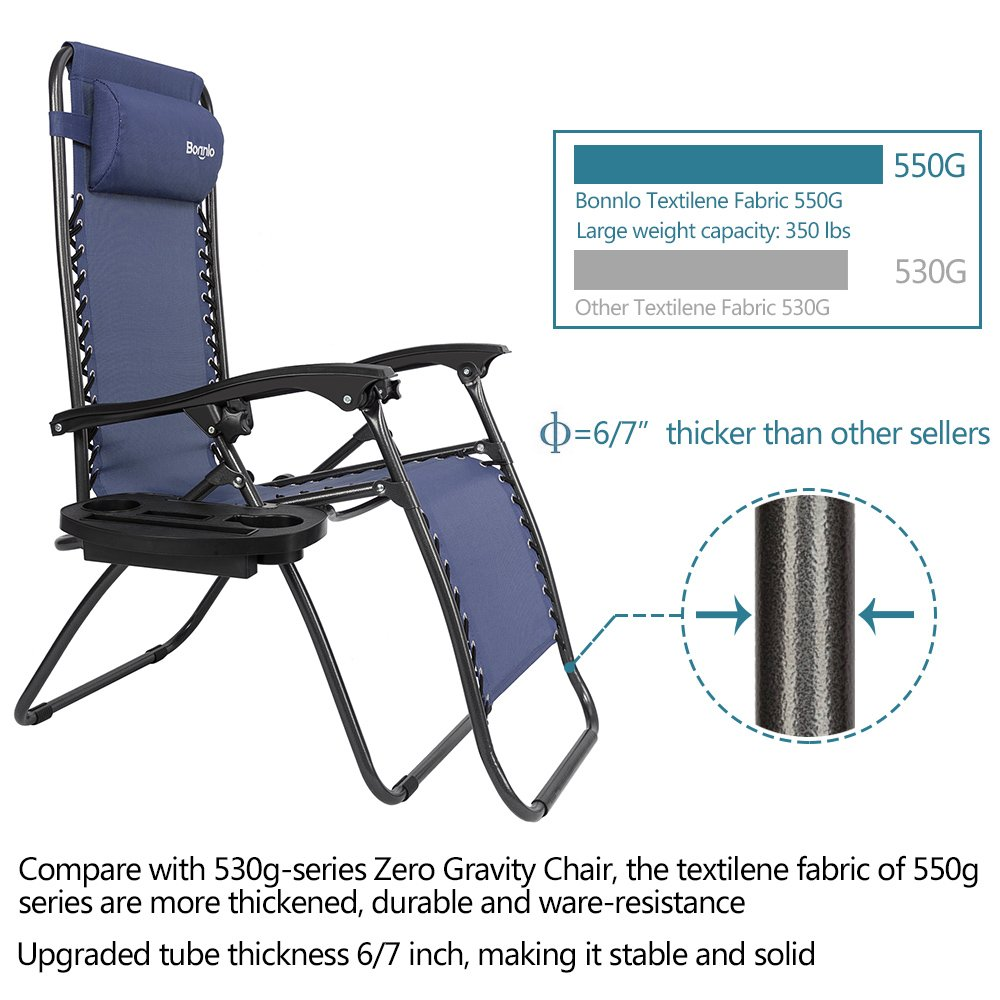 Bonnlo Infinity Zero Gravity Chair, Outdoor Lounge Patio Chairs with Pillow and Utility Tray Adjustable Folding Recliner for Deck,Patio,Beach,Yard Pack 2(Blue) by Bonnlo (Image #3)