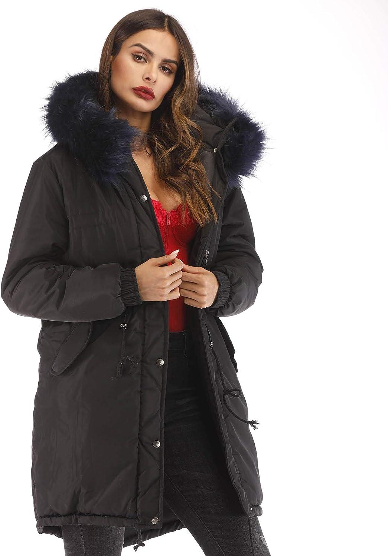 Aofur Womens Plus Size Winter Warm Long Thick Down Hooded Parka Coat Cardigan Zip Jacket Top Fashion Overcoat Outwear